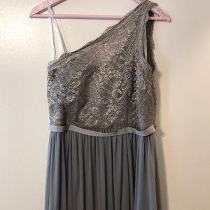 Gray one shoulder bridesmaid dress